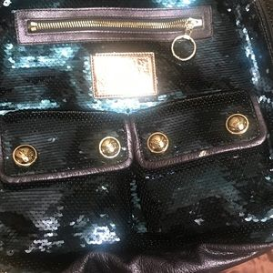 NWT Coach Sequin Poppy backpack blue disco ball